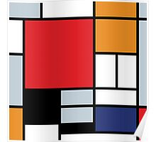 Mondrian Composition With Large Red Plane Poster