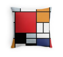 Mondrian Composition With Large Red Plane Throw Pillow