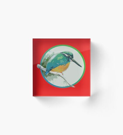 Kingfisher, Jewel of the Waterways, Waiting in the Willows.  Acrylic Block
