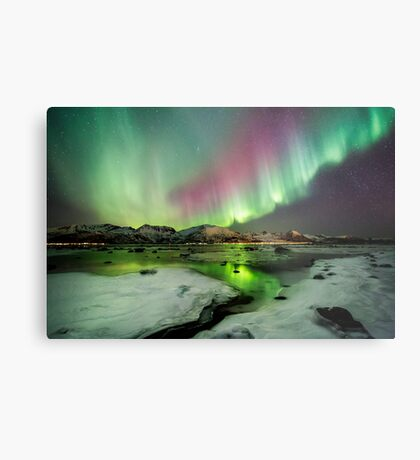 Ice and the Northern Lights Metal Print