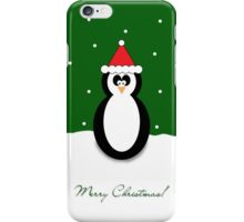 Christmas Penguin Green Greeting Card/Phone Case. iPhone Case/Skin