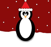 Christmas Penguin Red Greeting Card/Phone Case. by cmonskinnylove