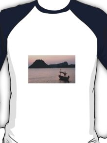 Boat at sunrise  T-Shirt