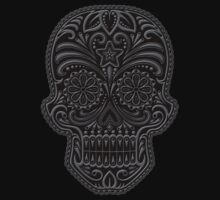 Intricate Gray and Black Sugar Skull Kids Clothes