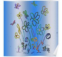 Hand-drawn image- Cheery flowers! Poster