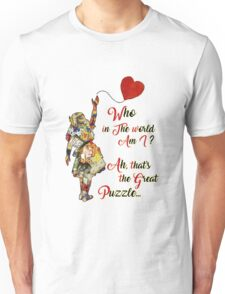 Vintage Alice in Wonderland Collage Who In The World Am I Quote Unisex T-Shirt