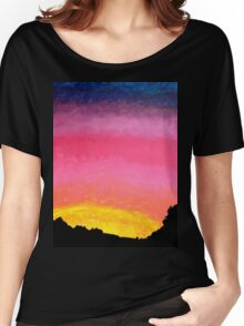 Sunset Painting with Tree Line Silhouette  Women's Relaxed Fit T-Shirt