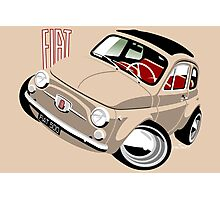 Classic Fiat 500F caricature beige Photographic Print