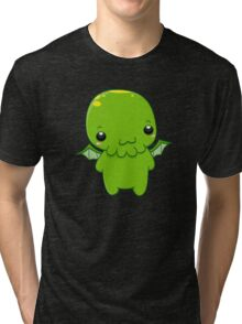 chibi cthulhu - the green monster Tri-blend T-Shirt