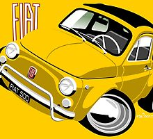 Classic Fiat 500L caricature yellow by car2oonz