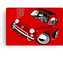 Classic Fiat 500L caricature red Canvas Print