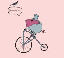 PiGgy riding a penny-farthing Kids Tee