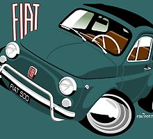 Classic Fiat 500L caricature green by car2oonz