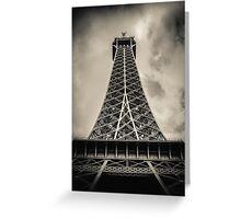 Retro Paris Eiffel Tower With Stormy Sky Greeting Card