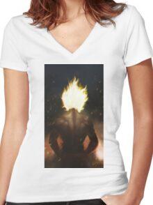 Super Saiyan Goku (Texture) Women's Fitted V-Neck T-Shirt