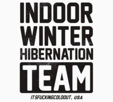 Winter Hibernation Team on a Baseball Tee by Six 3