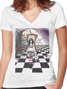 Dark Wonderland Women's Fitted V-Neck T-Shirt