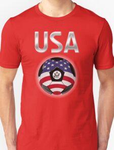 USA - American Flag - Football or Soccer Ball & Text T-Shirt