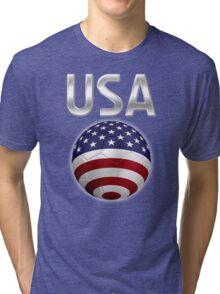 USA - American Flag - Football or Soccer Ball & Text 2 Tri-blend T-Shirt