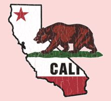 California Bear Flag (Distressed Vintage Design) Kids Clothes