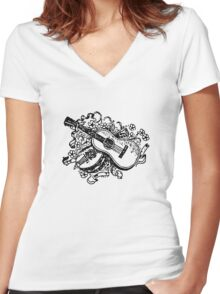 Guitar Drawing Women's Fitted V-Neck T-Shirt