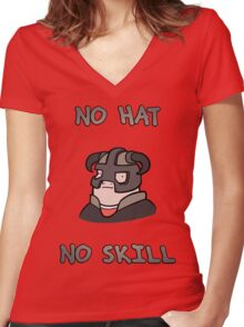 No hat No skill Women's Fitted V-Neck T-Shirt