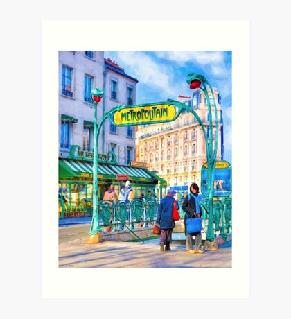 Paris Metro Station - Parisian Street Scene Art Print