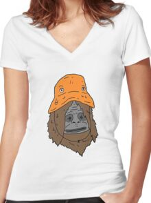 Sassy The Orange Hat Women's Fitted V-Neck T-Shirt