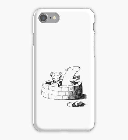 Girl and a polar bear building iPhone Case/Skin