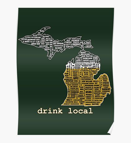 Drink Local (MI) (with Outline) Poster