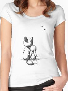 Fox and a rabbit Women's Fitted Scoop T-Shirt