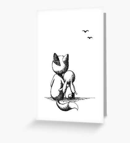 Fox and a rabbit Greeting Card