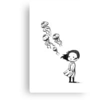 Girl and the jellyfish Metal Print