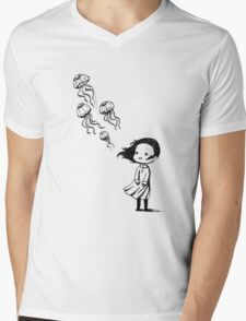 Girl and the jellyfish Mens V-Neck T-Shirt
