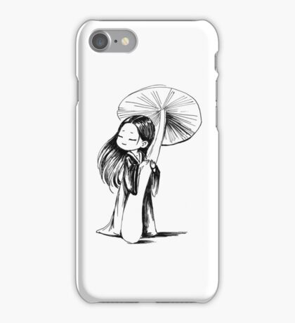 Girl under the mushroom iPhone Case/Skin