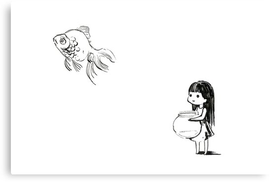 Girl and a fish by freeminds