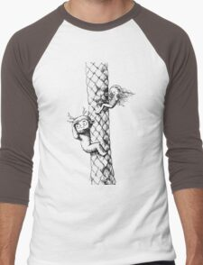 Girl and a monster on a palm tree Men's Baseball ¾ T-Shirt