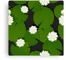 Background with watter lillies pattern Canvas Print