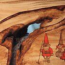 Pyrography: Mushroom Gnomes by aussiebushstick