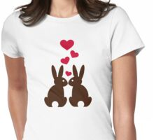 Bunnies hearts love Womens Fitted T-Shirt