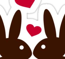 Bunnies hearts love Sticker