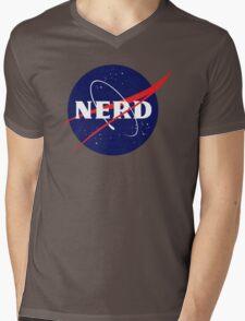 NASA Nerd Logo Parody Mens V-Neck T-Shirt
