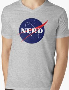 NASA Nerd Logo Parody Mens V-Neck T-Shirt