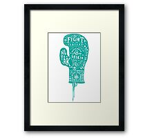 Boxing Glove Typography - the Fight of the Century - green Framed Print