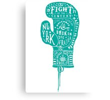 Boxing Glove Typography - the Fight of the Century - green Canvas Print
