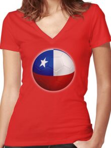 Chile - Chilean Flag - Football or Soccer 2 Women's Fitted V-Neck T-Shirt