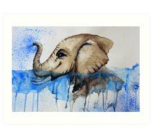 Watercolour Baby Water Elephant Art Print