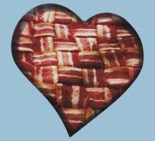 Bacon - Heart - Woven Strips Kids Tee