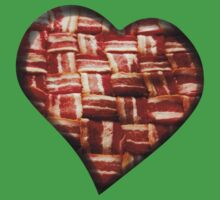 Bacon - Heart - Woven Strips Kids Tee