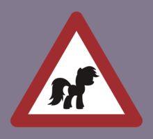 Pony Traffic Sign - Triangular Kids Tee